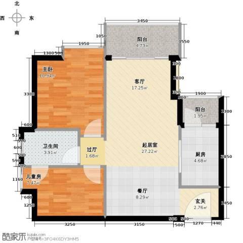 悦时代花园2室0厅1卫1厨67.77㎡户型图