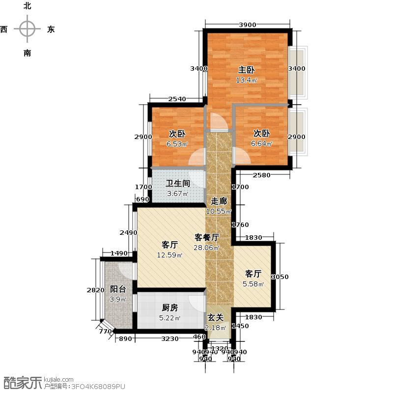 恒大海上夏威夷92.44㎡2、28号楼02户型3室1厅1卫1厨