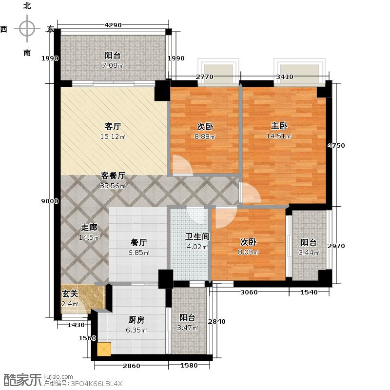 尚境雅筑99.01㎡A4栋02单元户型3室1厅1卫1厨