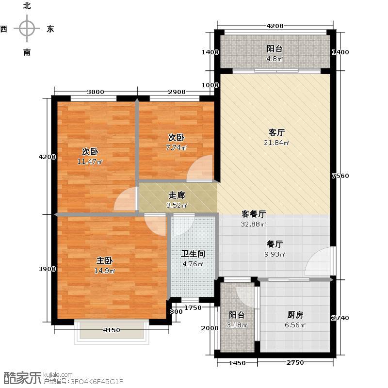 恒大海上夏威夷113.60㎡3、41号楼02户型3室1厅1卫1厨