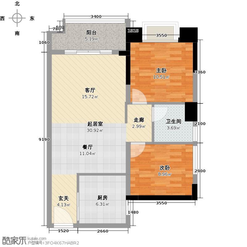 万科东荟城75.00㎡A1-5户型2室1卫1厨