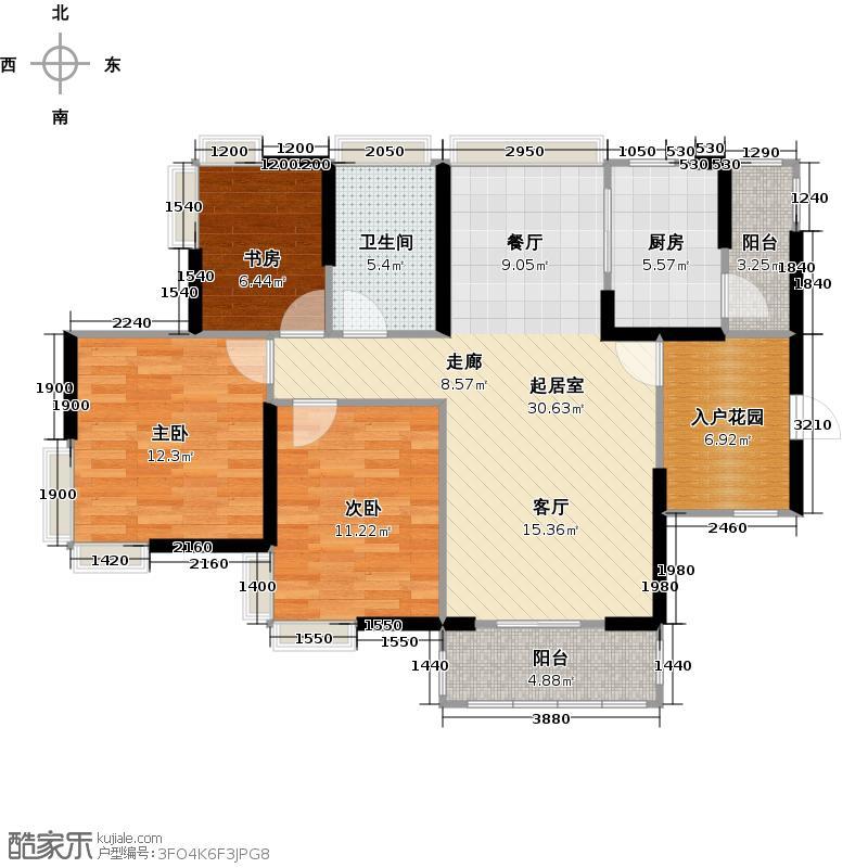 自由人花园108.00㎡B1/B1d户型3室1卫1厨