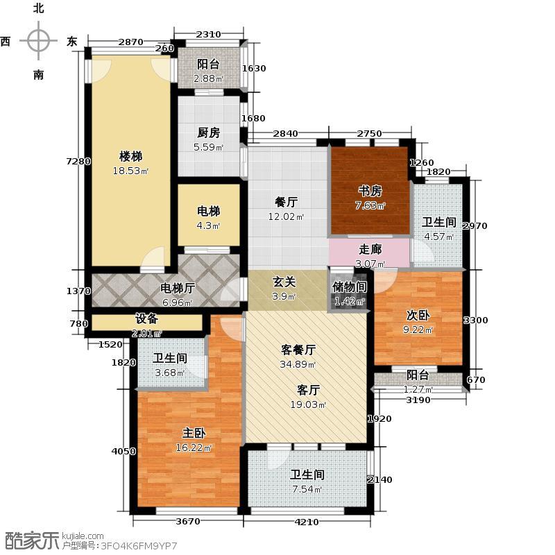 绿城巧园134.00㎡C户型3室1厅3卫1厨