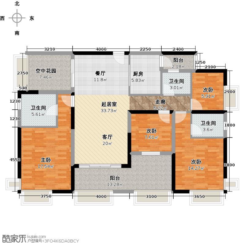 保利中环广场138.00㎡1座03户户型4室3卫1厨