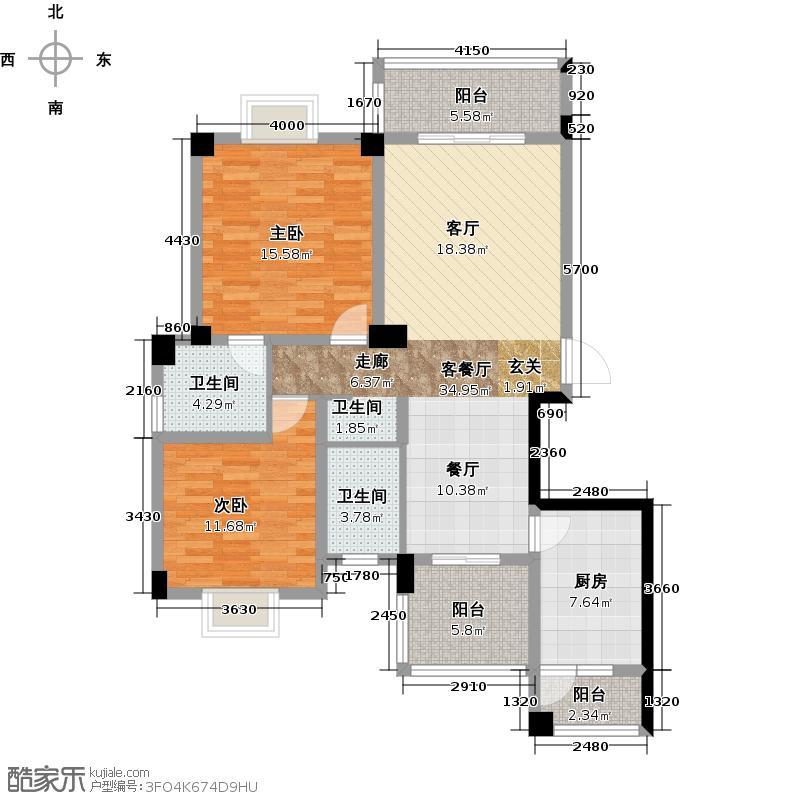 河滨鹭岛115.81㎡一期E2户型2室1厅2卫1厨