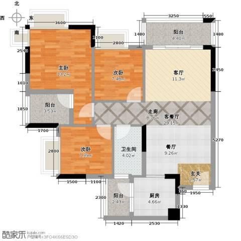 保利春天里3室1厅1卫1厨96.00㎡户型图