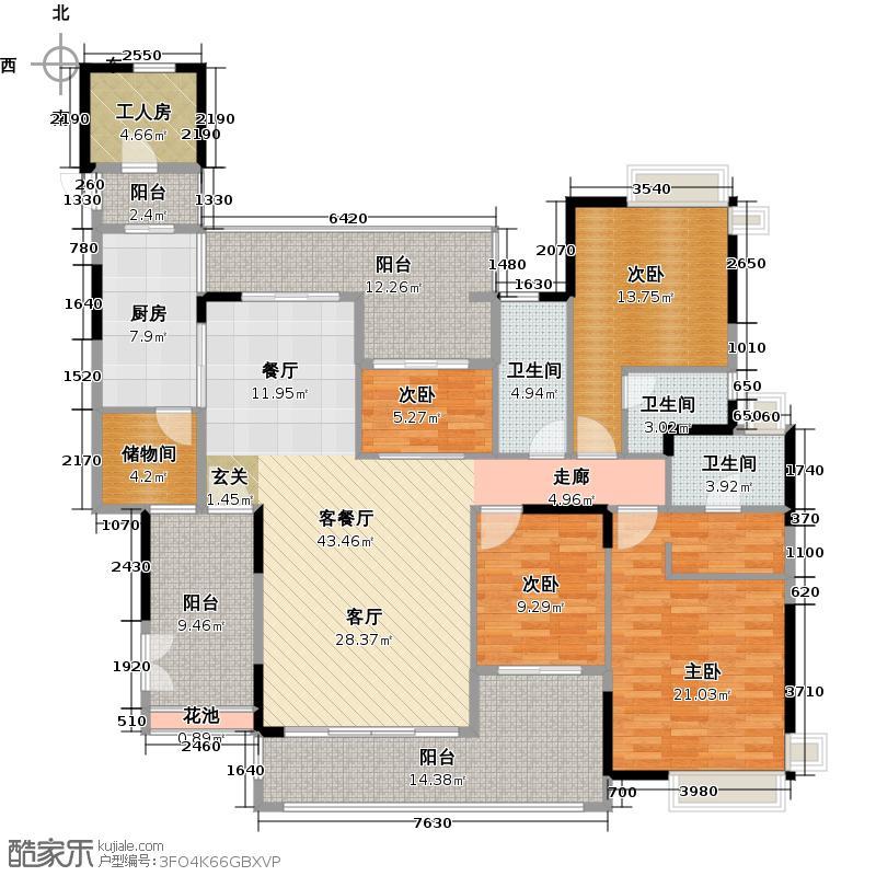 科城山庄186.00㎡A12栋01单元户型4室1厅3卫1厨