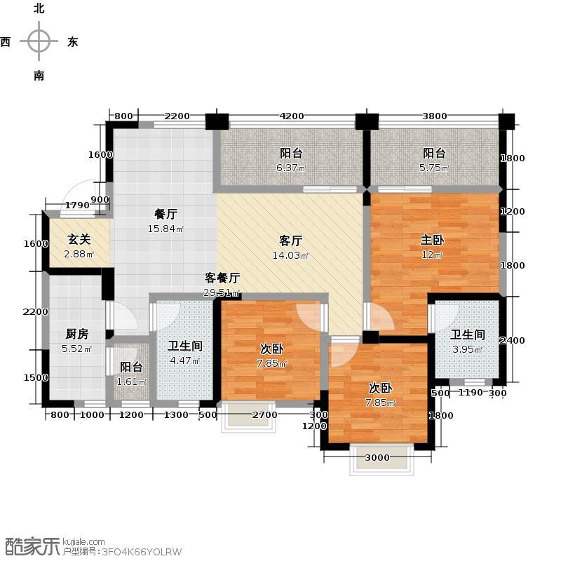 海上海108.00㎡A2户型3室1厅2卫1厨