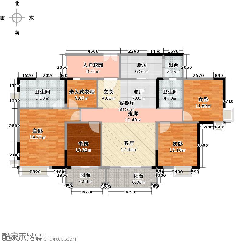 翡翠绿洲165.00㎡凡尔赛宫16栋标准层01单元户型4室1厅2卫1厨