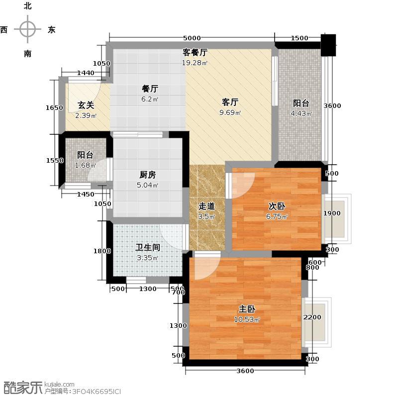 海上海67.00㎡A4户型2室1厅1卫1厨