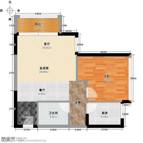 天安菁华公寓1室0厅1卫1厨74.00㎡户型图