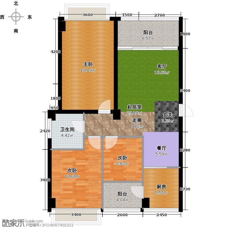 经典上城107.00㎡A15栋3-7层双卫户型3室1卫1厨