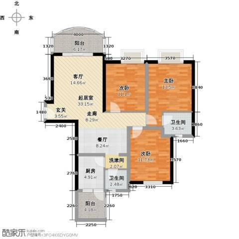 天邑宏御花园3室0厅2卫1厨130.00㎡户型图