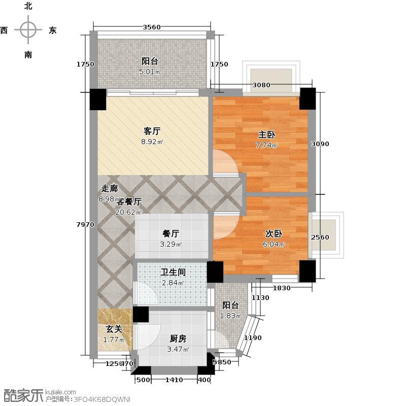 尚境雅筑70.41㎡A4栋05单元户型2室1厅1卫1厨