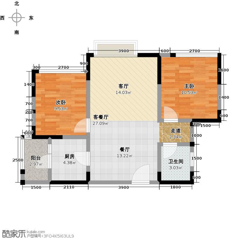 华润翠林华庭72.00㎡一期三栋C2户型2室1厅1卫1厨