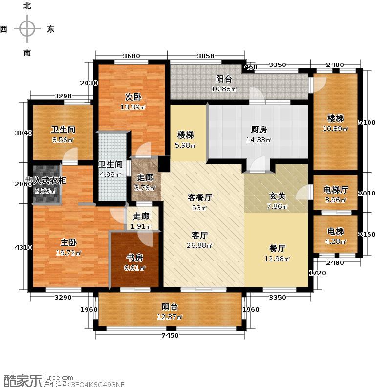 万科良渚文化村柳映坊二期180.00㎡顶跃A立面下层户型4室2厅3卫