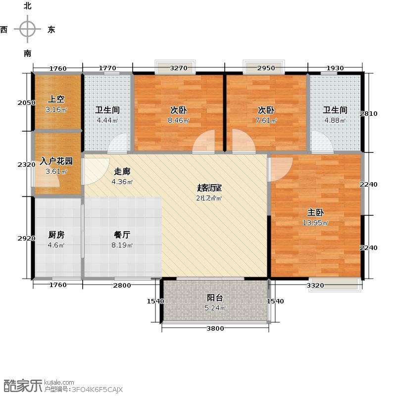 北部万科城91.00㎡K3、K4栋中央阔景洋房06户型3室2卫1厨