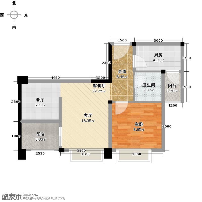 中铁二局玛塞城61.08㎡D2户型1室1厅1卫1厨