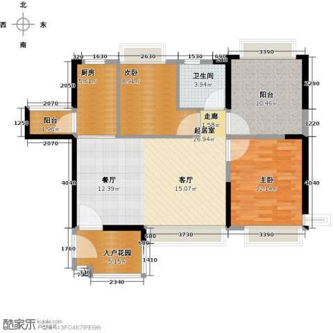恒大御景湾2室0厅1卫1厨90.00㎡户型图