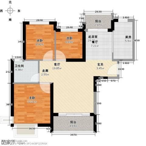 恒大海上夏威夷3室0厅1卫1厨106.00㎡户型图