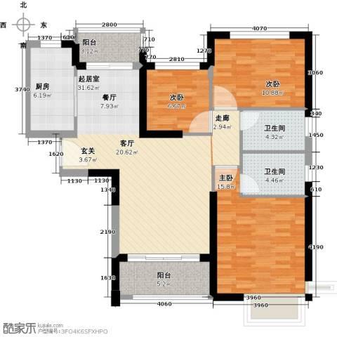 恒大海上夏威夷3室0厅2卫1厨120.00㎡户型图
