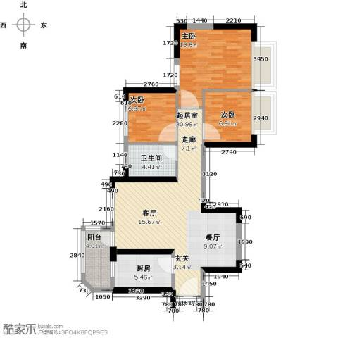 恒大海上夏威夷3室0厅1卫1厨92.00㎡户型图