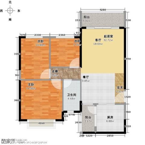恒大海上夏威夷3室0厅1卫1厨114.00㎡户型图