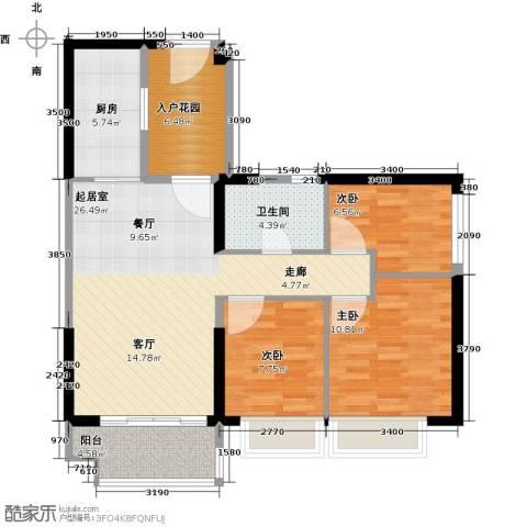 恒大海上夏威夷3室0厅1卫1厨97.00㎡户型图