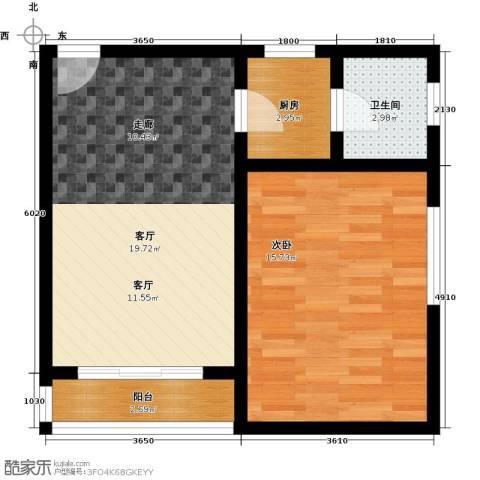 1号公寓1室1厅1卫1厨64.00㎡户型图