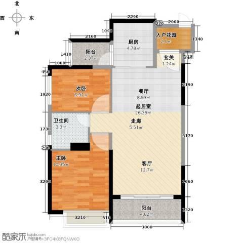 恒大海上夏威夷2室0厅1卫1厨92.00㎡户型图