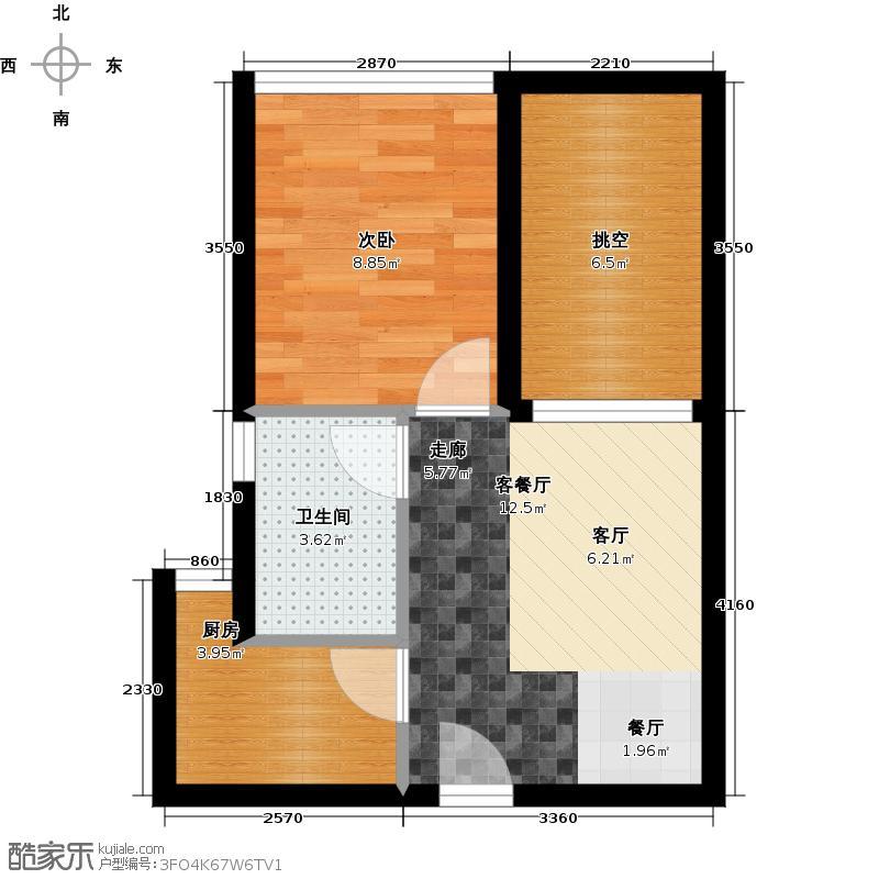 珑瑜42.57㎡C户型1室1厅1卫1厨