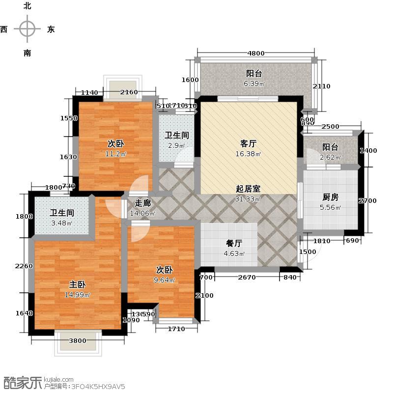 东山国际新城102.89㎡一期B户型3室2卫1厨