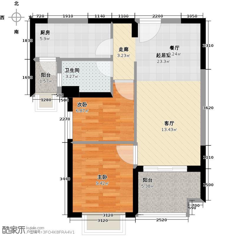 恒大海上夏威夷81.22㎡27、38、45、47号楼03单位户型2室1卫1厨