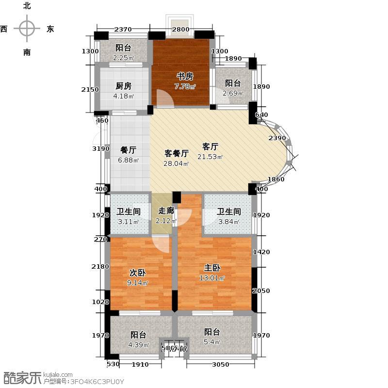 东海闲湖城123.00㎡B2户型3室1厅2卫