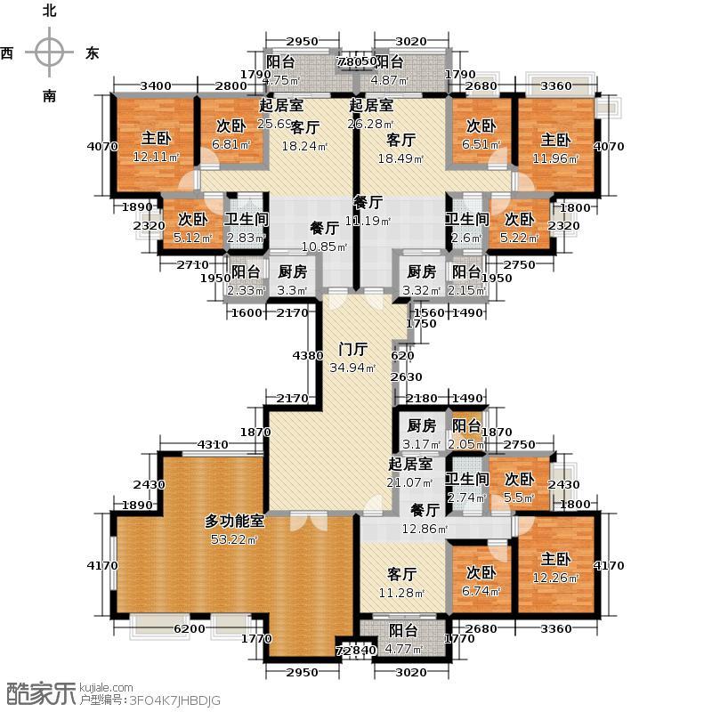 中澳丽珠花园314.14㎡户型9室3卫3厨