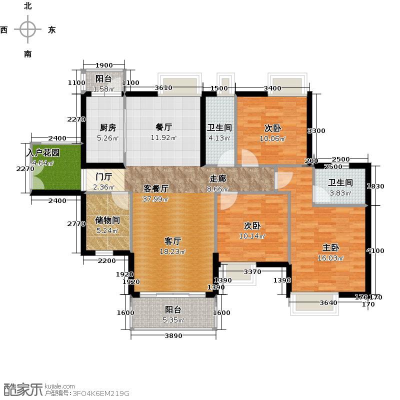 尚上名筑139.00㎡A1栋02/A2栋03户型3室1厅2卫1厨