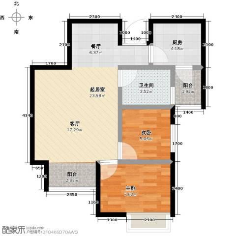 圣联香御公馆2室0厅1卫1厨71.00㎡户型图