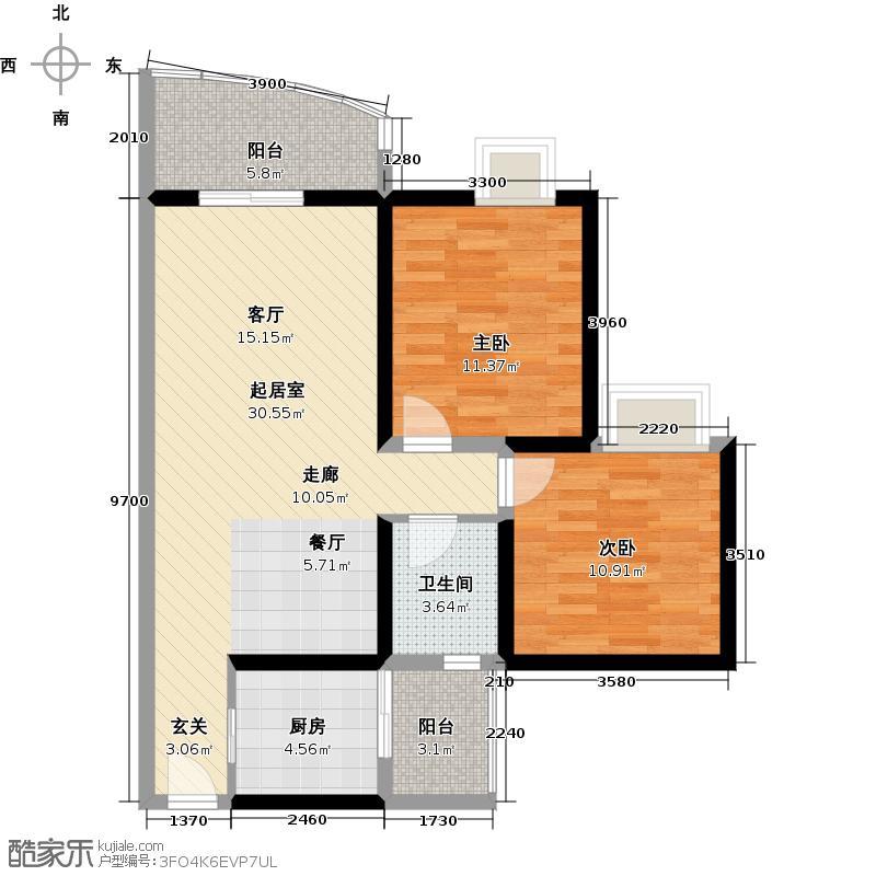 天邑宏御花园93.00㎡9、10栋E-1单卫户型2室1卫1厨
