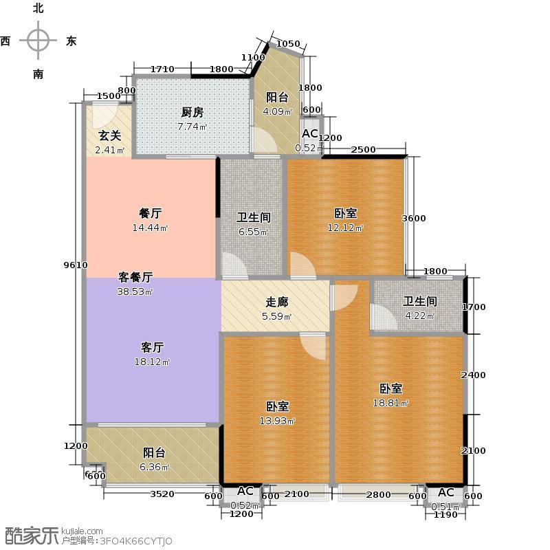 中兴花园二期122.08㎡A栋0户型1厅2卫1厨