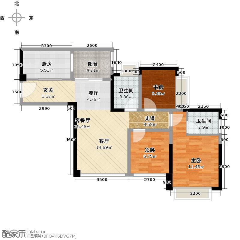蓝光东方天地81.00㎡A4户型3室1厅2卫1厨