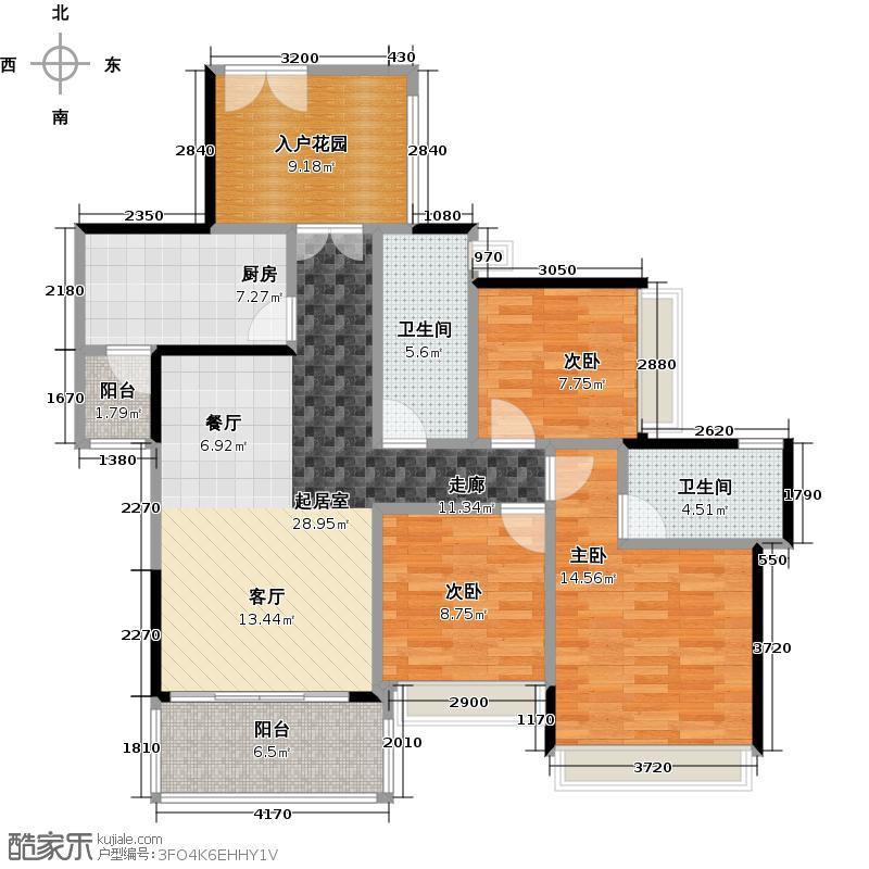佳兆业中央豪门106.95㎡户型3室2卫1厨