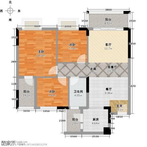 保利春天里3室1厅1卫1厨92.00㎡户型图