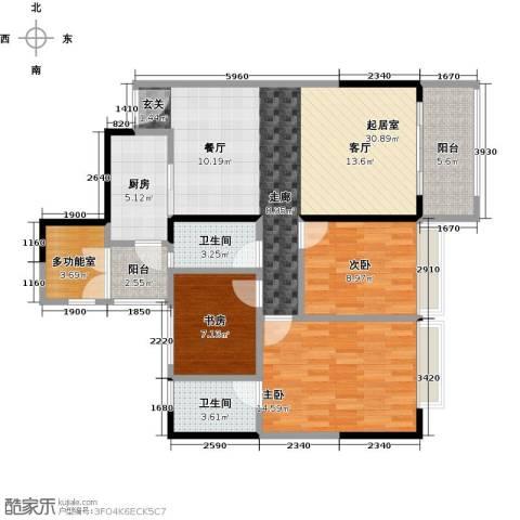 长堤1号3室0厅2卫1厨95.00㎡户型图