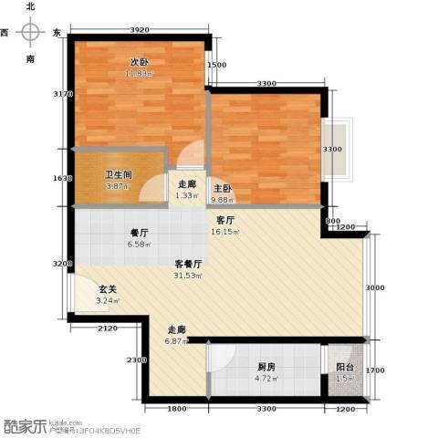 优品国际公寓2室1厅1卫1厨88.00㎡户型图