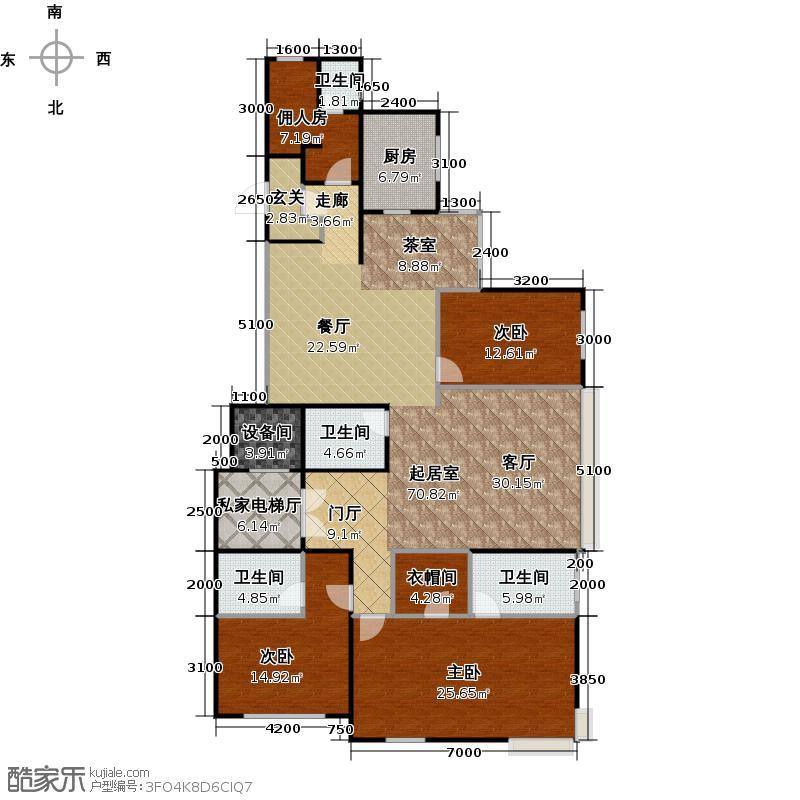 波庞宫(远洋万和城三期)184.99㎡A2A6号楼02户型3室4卫1厨