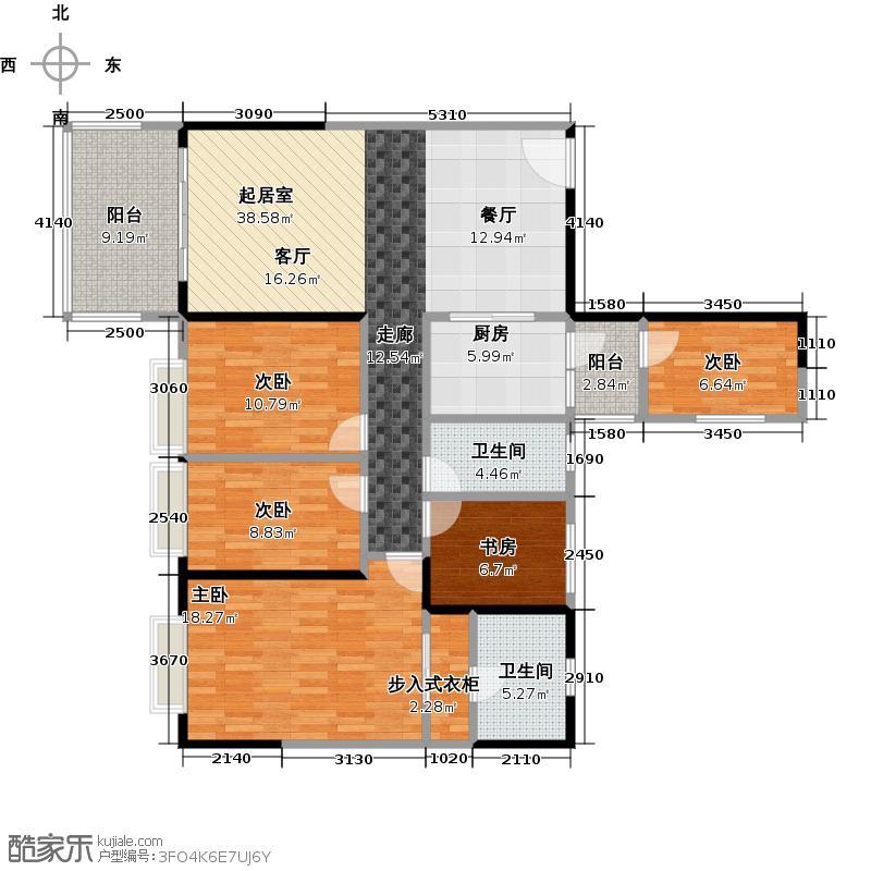 长堤1号131.00㎡131栋04户型5室2卫1厨