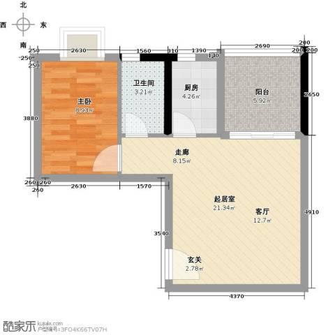 银汇华庭1室0厅1卫1厨61.00㎡户型图