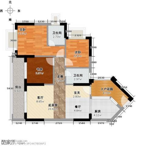 中珠・在水一方3室0厅2卫1厨90.00㎡户型图
