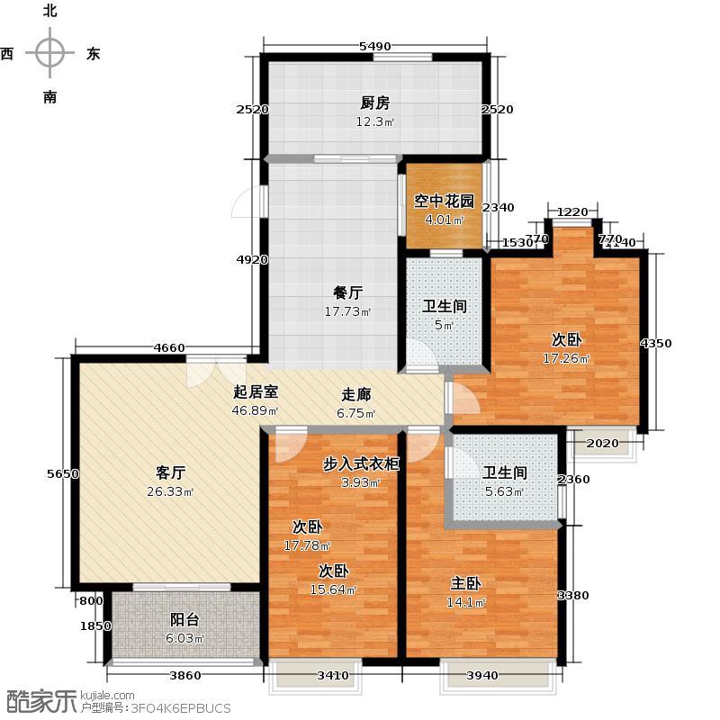 嘉汇城144.00㎡5栋标准层01户型3室2卫1厨