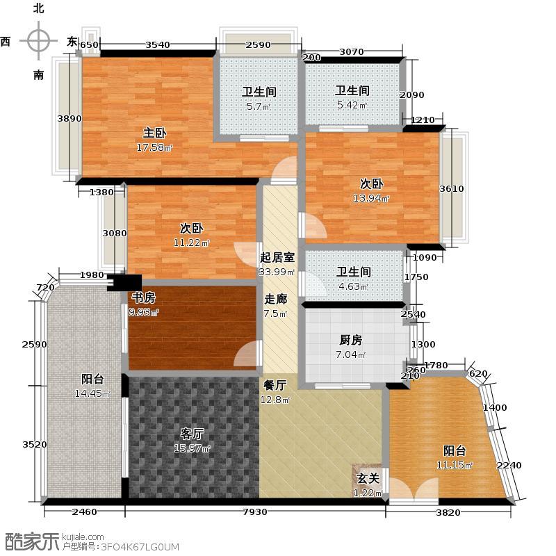 雅居乐锦城158.00㎡双套房户型4室3卫1厨